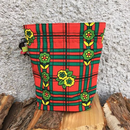 Vintage Fabric Knitting Bag -Tartan Flower